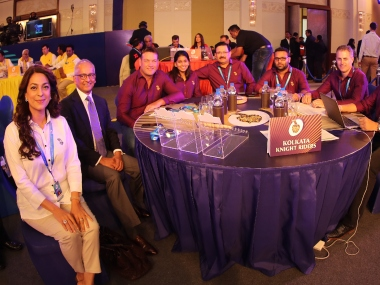 KKR auction table during the Indian Premier League (IPL) auction held at the ITC Gardenia hotel in Bangalore on the 27th January 2018. SPORTZPICS
