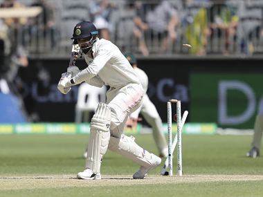 KL Rahul is cleaned up by Mitchell Starc on Day 2 of the 2nd Test in Perth. AP