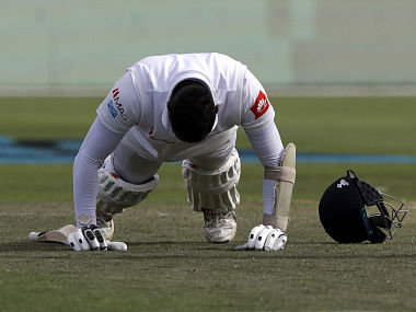 Angelo Mathews does push-ups as he celebrates after scoring a century against New Zealand in 1st Test. AP