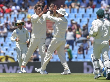 South Africa's Duanne Olivier celebrate after getting Pakistan's Sarfraz Ahmed's wicket during day one. AFP