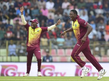 Sheldon Cottrell took four wickets for 28. Twitter @ICC