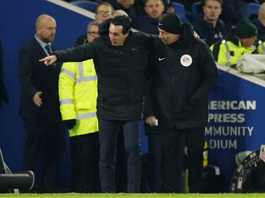 Premier League Arsenal manager Unai Emery charged with improper for kicking water bottle during Brighton draw