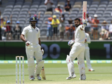 Virat Kohli brought up his 25th Test ton on a tough Perth surface on Day 3. AP