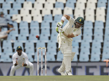 South Africa's batsman Dean Elgar plays a side shot being field off on day three of the first cricket test match between South Africa and Pakistan at Centurion Park in Pretoria, South Africa, Friday, Dec. 28, 2018. (AP Photo/Themba Hadebe)