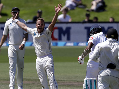 New Zealand's Neil Wagner appeals unsuccessfully for a catch behind the wicket during play on day four of the second cricket test between New Zealand and Sri Lanka at Hagley Oval in Christchurch, New Zealand, Saturday, Dec. 29, 2018. (AP Photo/Mark Baker)
