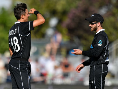 Trent Boult and Kane Williamson in action during the 1st ODI, which New Zealand lost by eight wickets. AFP