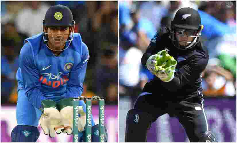 MS Dhoni and Tom Latham in action during the 2nd ODI between India and New Zealand. AFP