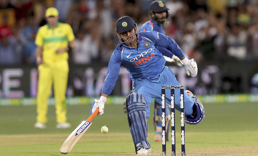 MS Dhoni completes the winning single in 2nd ODI of the 3-match series between India and Australia. AP