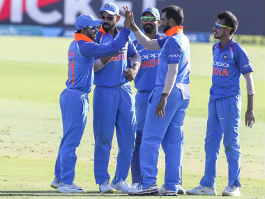 The Indian players celebrate the dismissal of Ross Taylor in the third ODI at Mount Maunganui. AP