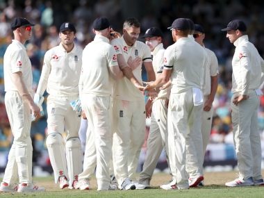 James Anderson celebrates a fall of Windies' wicket. AP