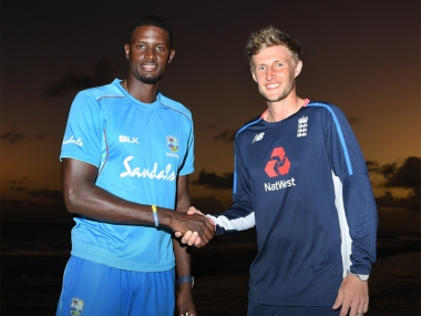West Indies skipper Jason Holder and England captain Joe Root shake hands on the eve of first Test. Twitter @englandcricket