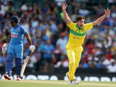 Jhye Richardson claimed career-best ODI figures of 4/26 in the first ODI at the SCG against India. AP