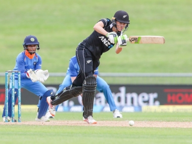 White Ferns captain Amy Satterwaite in action from the first ODI against Mithali Raj-led Indian side at McLean Park. Twitter @WhiteFerns