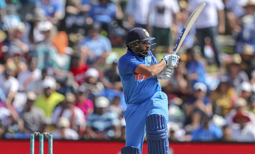 Rohit Sharma of India plays during the second one day international between India and New Zealand at Blake Park in Tauranga, New Zealand, Saturday, Jan. 26, 2019. (AP Photo/John Cowpland)