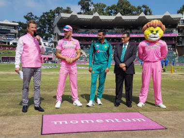 Captains Faf du Plessis and Shoaib Malik at the toss. Image credit: Twitter/@OfficialCSA
