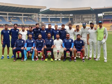 Saurashtra players pose for a photograph. Image courtesy: Twitter @Saucricket