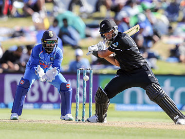 New Zealand's Ross Taylor plays a shot during the third one day international between India and New Zealand at Bay Oval in Tauranga, New Zealand, Monday, Jan. 28, 2019. (AP Photo/John Cowpland)