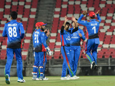 Afghanistan celebrate the fall of an Irish wicket in the first T20I. Image credit: Twitter/@ACBofficials