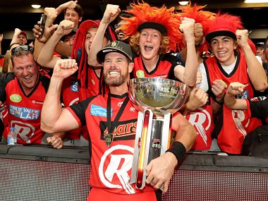 Dan Christian celebrates after winning the BBL title with Melbourne Renegades. Image courtesy Twitter @cricketcomau