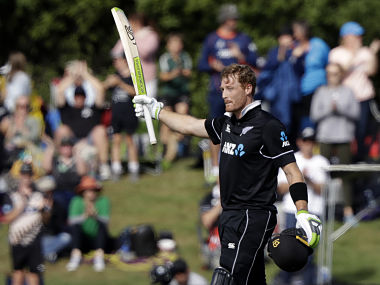 New Zealand's Martin Guptill celebrates after scoring a century during the one day international cricket match between New Zealand and Bangladesh in Christchurch, New Zealand, Saturday, Feb. 16, 2019. (AP Photo/Mark Baker)