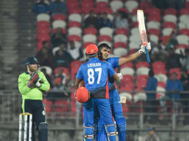 Hazratullah Zazai (162 not out) and Usman Ghani (73) shared a record first-wicket stand of 236. Image credit: Twitter/@ACBofficials