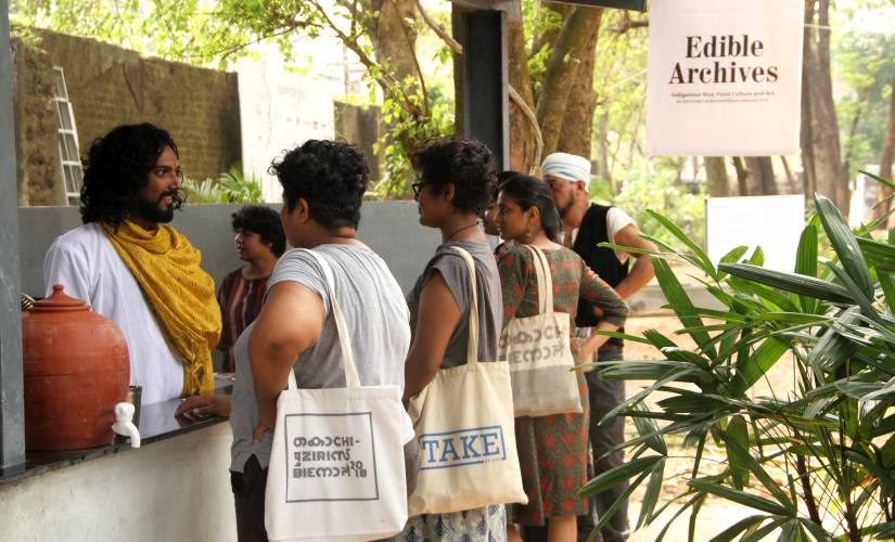 At Kochi Muziris Biennale a food project showcases indigenous varieties of rice from across India presented in unique ways