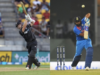 File image of New Zealand captain Kane Williamson (L) and India skipper Rohit Sharma. AP/AFP