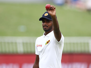 """Sri Lanka's Lasith Embuldeniya celebrates his 5 wicket haul during the third day of the first Cricket Test between South Africa and Sri Lanka at the Kingsmead Stadium in Durban. (Photo by Anesh DEBIKY / AFP) / """"The erroneous mention[s] appearing in the metadata of this photo has been modified in AFP systems in the following manner: [Byline reads Anesh Debiky] instead of [Ludovic Marin]. Please immediately remove the erroneous mention[s] from all your online services and delete it (them) from your servers. If you have been authorized by AFP to distribute it (them) to third parties, please ensure that the same actions are carried out by them. Failure to promptly comply with these instructions will entail liability on your part for any continued or post notification usage. Therefore we thank you very much for all your attention and prompt action. We are sorry for the inconvenience this notification may cause and remain at your disposal for any further information you may require."""""""