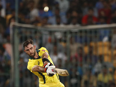 Glenn Maxwell powers a six during the 2nd T20I against India. AP