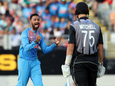 Krunal Pandya celebrates after successfully appealing for leg-before against Daryl Mitchell in second T20I. AFP