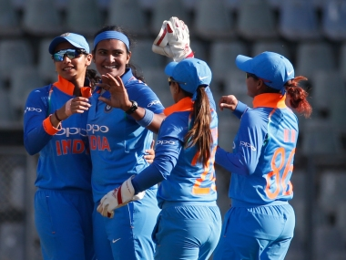 Shikha Pandey took 4 wickets for 18 runs helping India restrict England to 161. AP