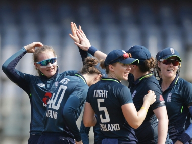 Engaland's Sophie Ecclestone celebrates after Jemimah Rodrigues wicket during first women one day cricket match against India in Mumbai, India, Friday, Feb 22, 2019(AP Photo/Rajanish Kakade)