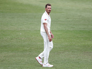 South Africa;s Dale Steyn looks on during day 2 of the first test match between South Africa and Sri Lanka held at the Kingsmead Stadium in Durban, on February 14, 2019. (Photo by Anesh DEBIKY / AFP)