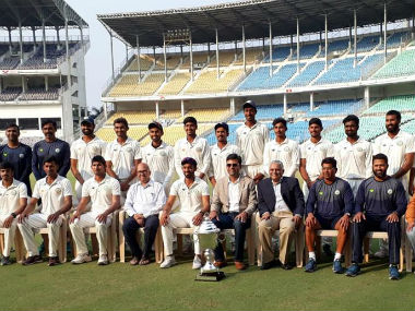 The victorious Vidarbha team pose with the trophy after retaining the title. Image credit: Official Facebook page of Vidarbha Cricket Association