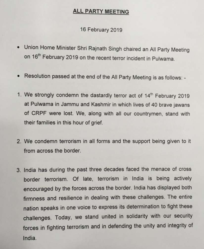 At allparty meet on Pulwama attack politicos lay differences aside adopt resolution to stand with jawans