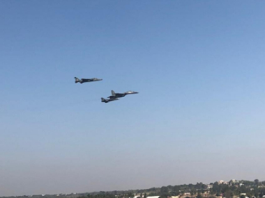 Aero India Show 2019 Three IAF aircraft including a Su30MKi in lead fly in missing man position to honour Wg Cdr Sahil Gandhi