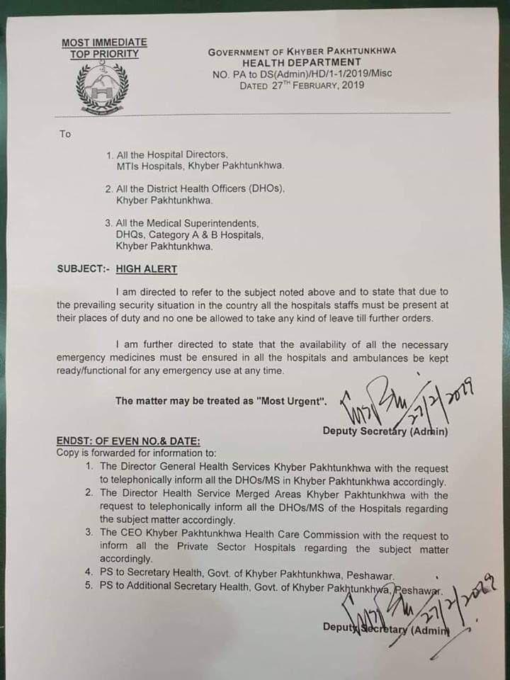 Pakistan puts all Khyber Pakhtunkhwa hospitals on alert asks them to stock up on medicines emergency supplies