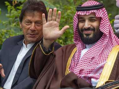 Pakistan Prime Minister Imran Khan and Saudi Crown Prince Mohammed Bin Salman in Islamabad. AFP/Saudi Royal Palace