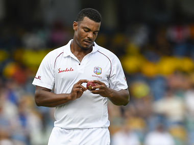 Shannon Gabriel of West Indies bowls during day 4 of the 1st Test between West Indies and England at Kensington Oval, Bridgetown, Barbados, on January 26, 2019. (Photo by Randy Brooks / AFP)