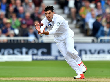 South Africa's Duanne Olivier fields off his own bowling during play on the second day of the second Test match between England and South Africa at Trent Bridge cricket ground in Nottingham, central England on July 15, 2017. (Photo by Anthony Devlin / AFP) / RESTRICTED TO EDITORIAL USE. NO ASSOCIATION WITH DIRECT COMPETITOR OF SPONSOR, PARTNER, OR SUPPLIER OF THE ECB