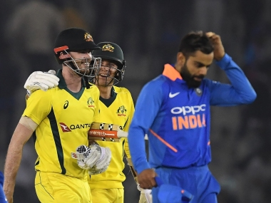 Ashton Turner (L) hammered 84 off 43 balls to help Australia pull off stunning win as India misread the conditions in Mohali. AFP