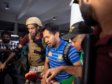 Bangladeshi cricketer Mushfikur Rahim with other team players come out from the VIP terminal in Hazrat Shahjalal International Airport, Dhaka, Bangladesh, March 16, 2019. Bangladesh's cricket team arrived home on Saturday after its tour of New Zealand was abandoned following the Christchurch mosque shootings a day earlier. (AP Photo) /// -- Delhi Photo Desk, Associated Press. E- delphotos@gmail.com E- newdelhiphotos@ap.org T- +91 11 43660415-9