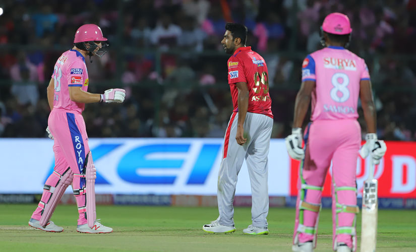 Ravichandran Ashwin captain of Kings XI Punjab talks with Jos Buttler of Rajasthan Royals during match 4 of the Vivo Indian Premier League Season 12, 2019 between the Rajasthan Royals and the Kings XI Punjab held at the Sawai Mansingh Stadium in Jaipur on the 25th March 2019 Photo by: Deepak Malik /SPORTZPICS for BCCI