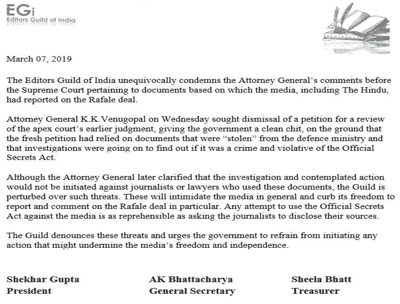 Editors Guild condemns AG KK Venugopals threats of action against The Hindu urges govt not to curb media freedom