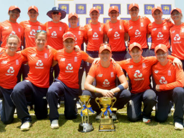 Members of the victorious English team pose with the trophies after winning all their matches in the limited-overs tour of Sri Lanka. AFP