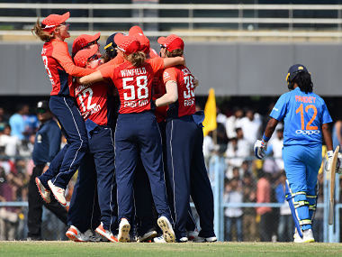 England's players celebrate after winning the final match of the women's Twenty20 (T20) cricket series between India and England at the Barsapara Cricket Stadium in Guwahati on March 9, 2019. - England won the women's Twenty20 (T20) cricket series by 3-0. (Photo by Biju BORO / AFP) / ----IMAGE RESTRICTED TO EDITORIAL USE - STRICTLY NO COMMERCIAL USE----- / GETTYOUT