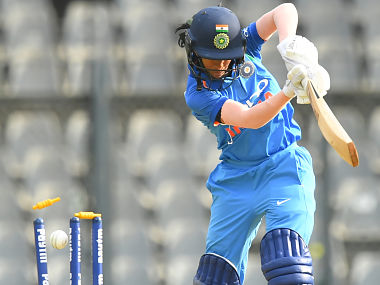 India's Jemimah Rodrigues is bowled during the third match of the women's one-day international (ODI) cricket series between India and England at the Wankhede Stadium in Mumbai on February 28, 2019. (Photo by Indranil MUKHERJEE / AFP) / ----IMAGE RESTRICTED TO EDITORIAL USE - STRICTLY NO COMMERCIAL USE----- / GETTYOUT