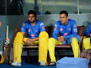 MS Dhoni and Suresh Raina during a practice session of CSK. Twitter @ChennaiIPL