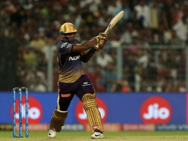 Andre Russell of Kolkata Knight Riders during match 6 of the Vivo Indian Premier League Season 12, 2019 between the Kolkata Knight Riders and the Kings XI Punjab held at the Eden Gardens Stadium in Kolkata on the 27th March 2019 Photo by: Prashant Bhoot /SPORTZPICS for BCCI