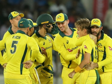 Australia's Adam Zampa along with team members celebrates the wicket of India's Ambati Rayudu during the first one day international cricket match between India and Australia, in Hyderabad, India, Saturday, March 2, 2019. (AP Photo/Mahesh Kumar A.)